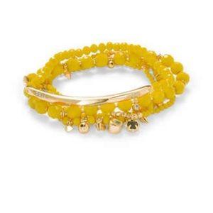 Kendra Scott Supak Beaded Bracelet Set Yellow Rare
